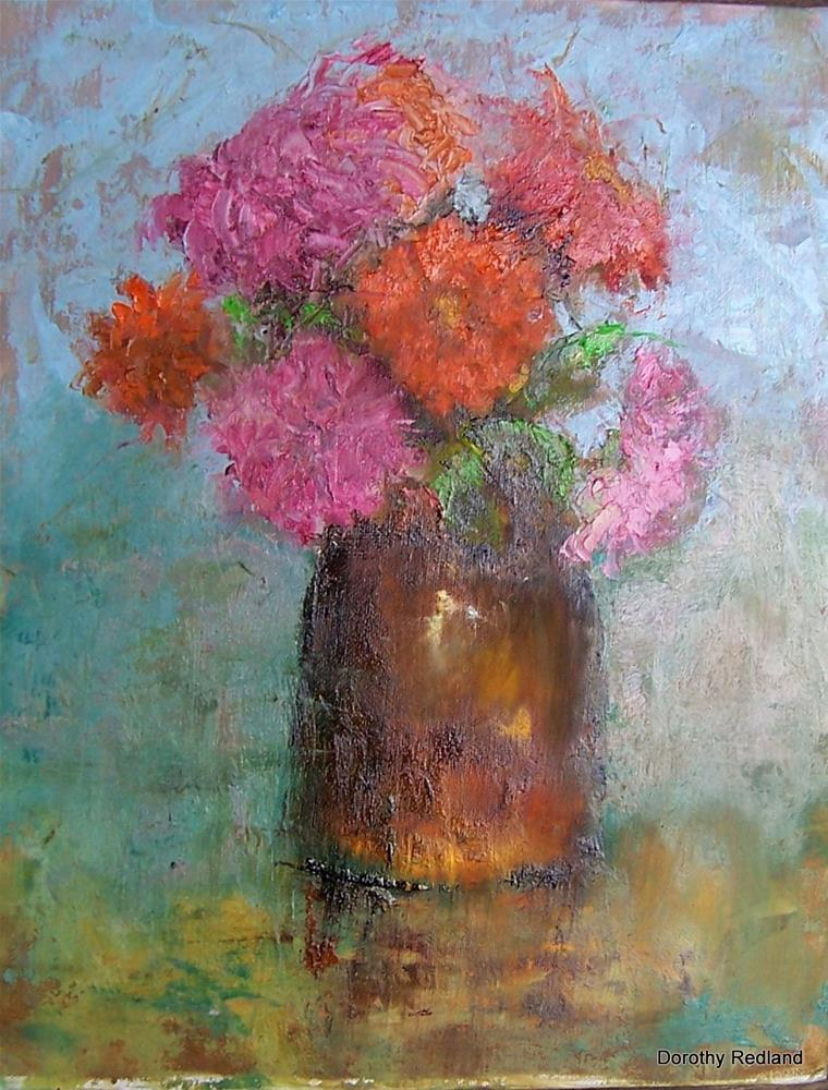 """LAST ZINNIAS OF THE SEASON"" original fine art by Dorothy Redland"