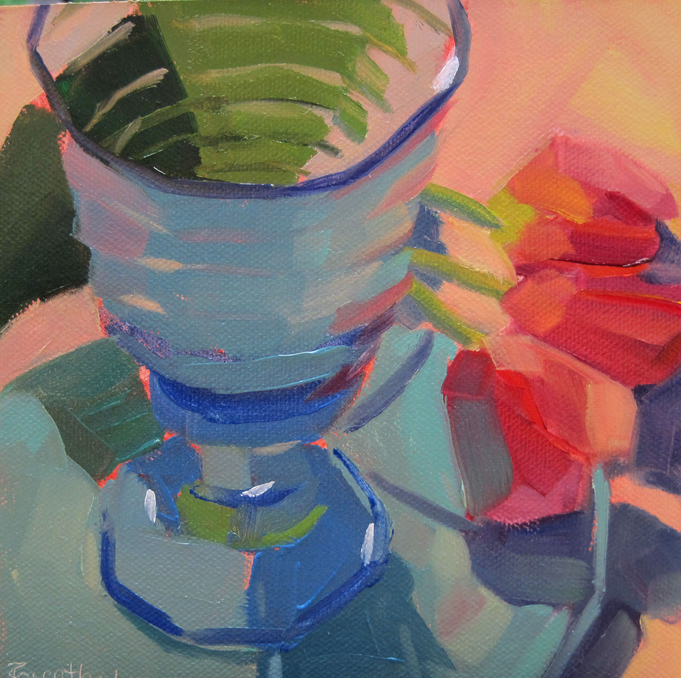 """Blue Glass Goblet and Tulips"" original fine art by Robin Rosenthal"