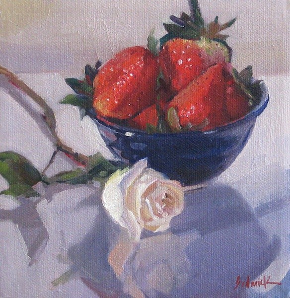 """""""Blue Bowl of Strawberries fruit food kitchen art oil daily painting and blog giveaway update"""" original fine art by Sarah Sedwick"""