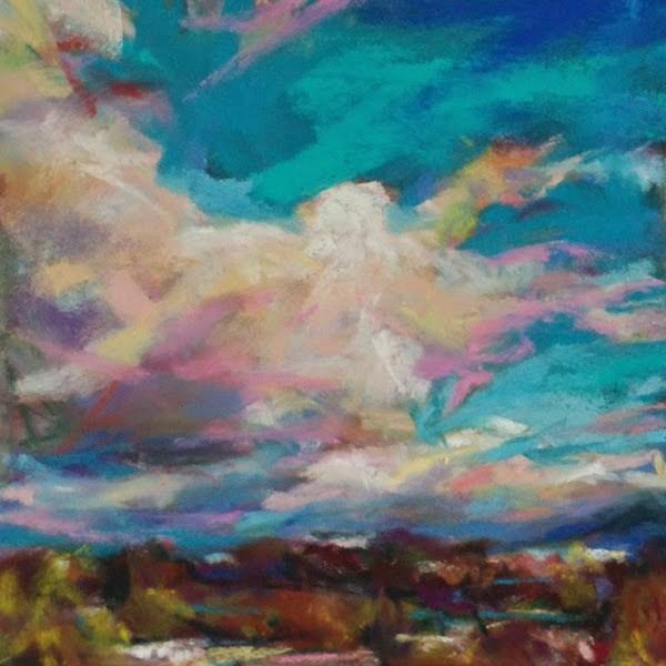"""AFTERNOON GLANCE- 4 1/2 x 4 1/2 landscape pastel by Susan Roden"" original fine art by Susan Roden"