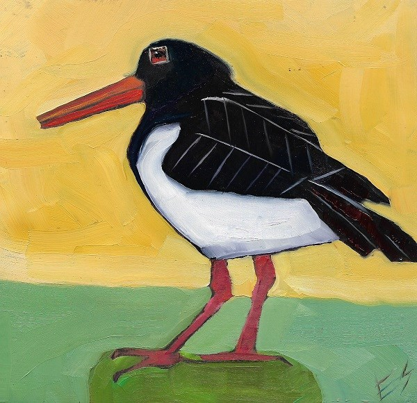 """Oyster Catcher On Wooden Block"" original fine art by Elizabeth See"
