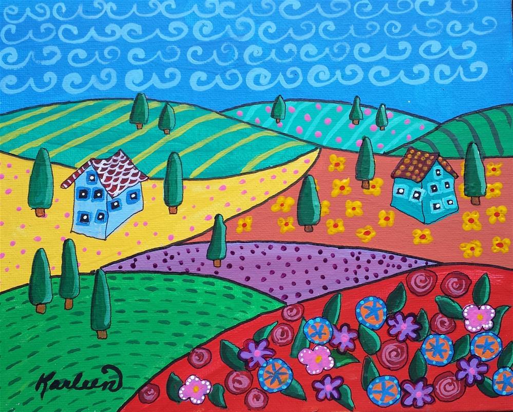 """""""Flower Garden on the Hill"""" original fine art by Karleen Kareem"""