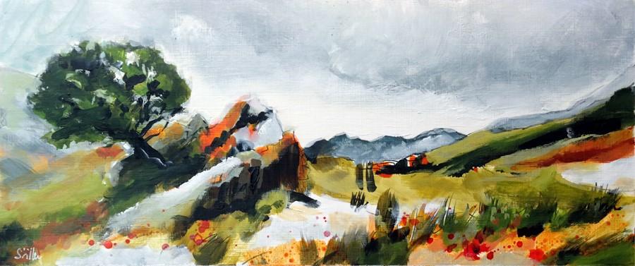 """2880 Ideal Landscape with a tree"" original fine art by Dietmar Stiller"