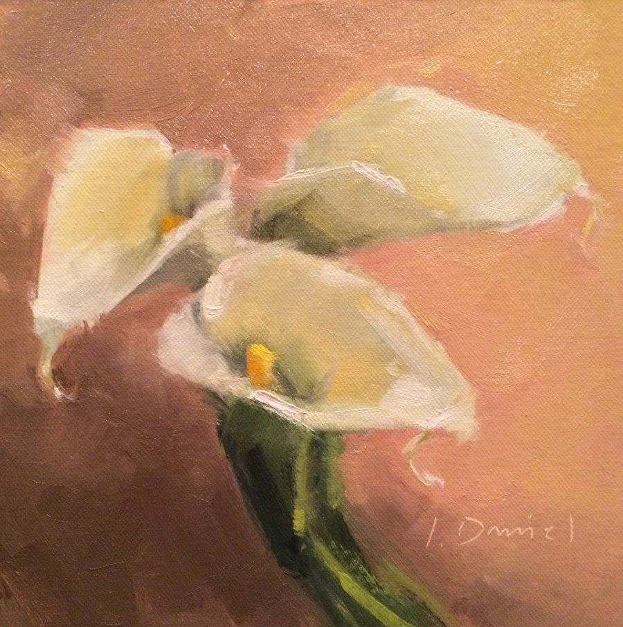 """Leaning Calla Lilies - Nineteen of 30 in 30"" original fine art by Laurel Daniel"