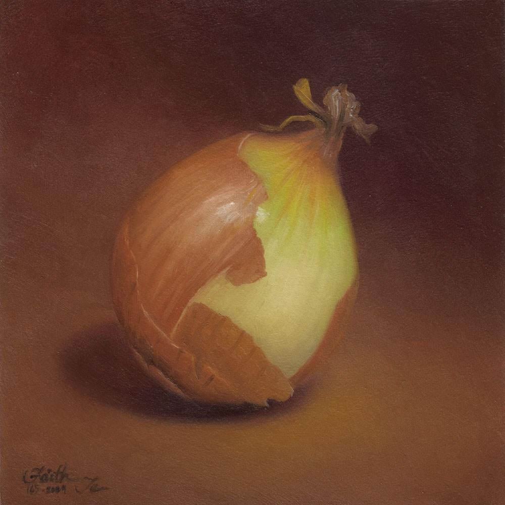 """Yellow Onion: Half Peeled"" original fine art by Faith Te"