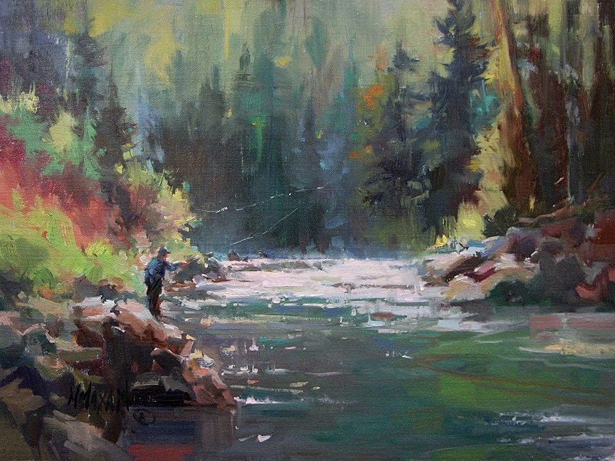 """Fall On The River"" original fine art by Mary Maxam"