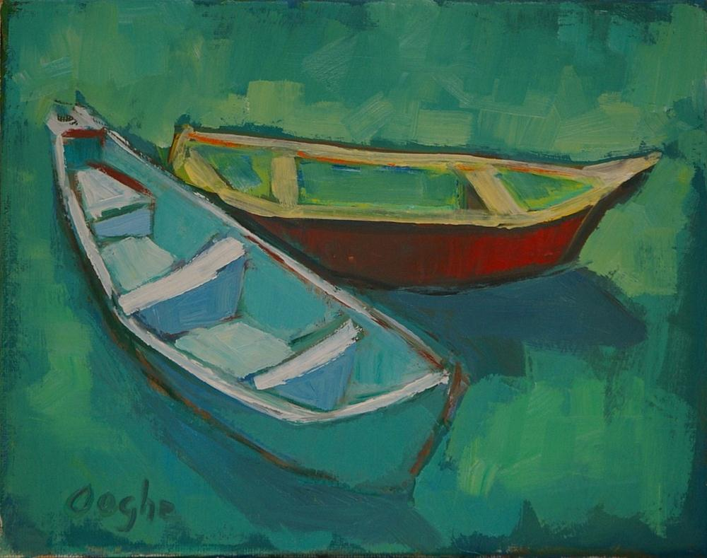 """""""Boats in the Sun"""" original fine art by Angela Ooghe"""