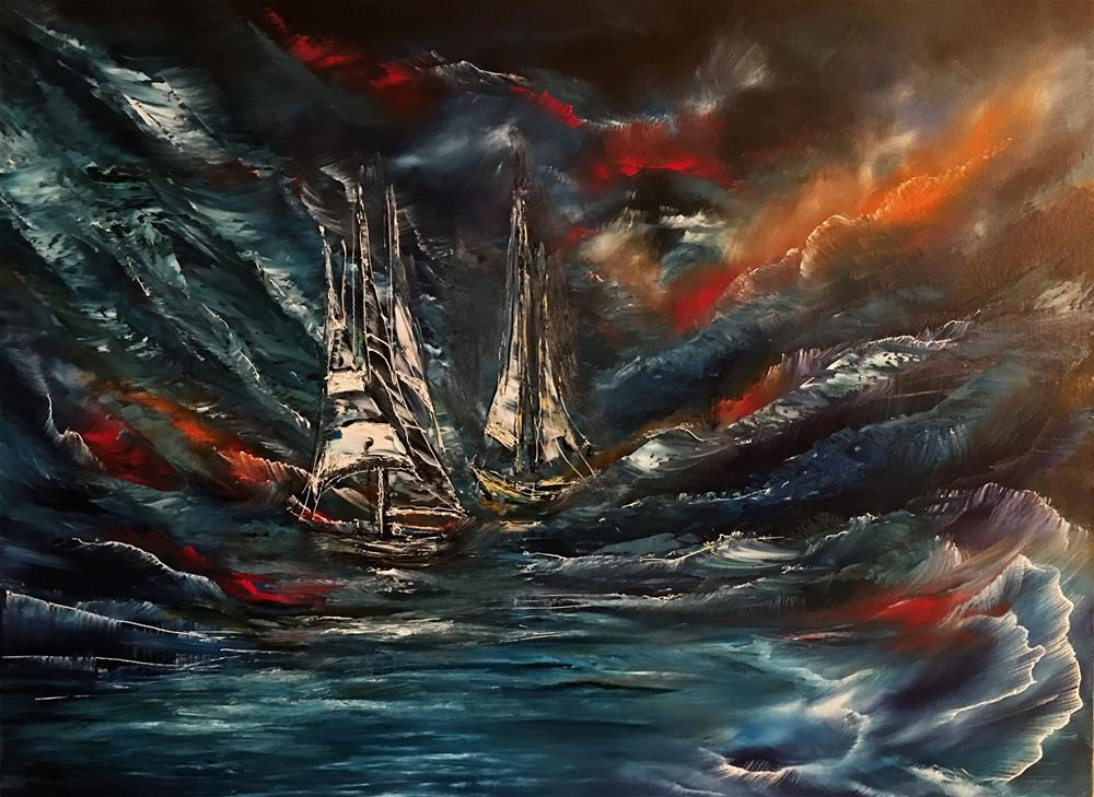 """Ghost Ships in the Storm"" original fine art by Khrystyna Kozyuk"