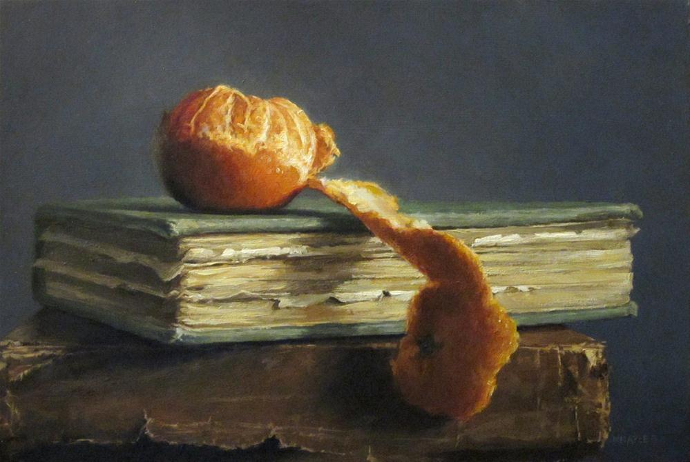 """Peeled Tangerine with Antique Books"" original fine art by Michael Naples"