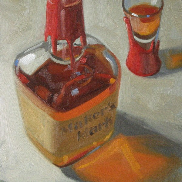 """Makers Mark 6x6 oil"" original fine art by Claudia Hammer"