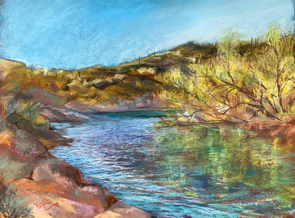"""Lake Pleasant Backwater, AZ"" original fine art by Jean Krueger"