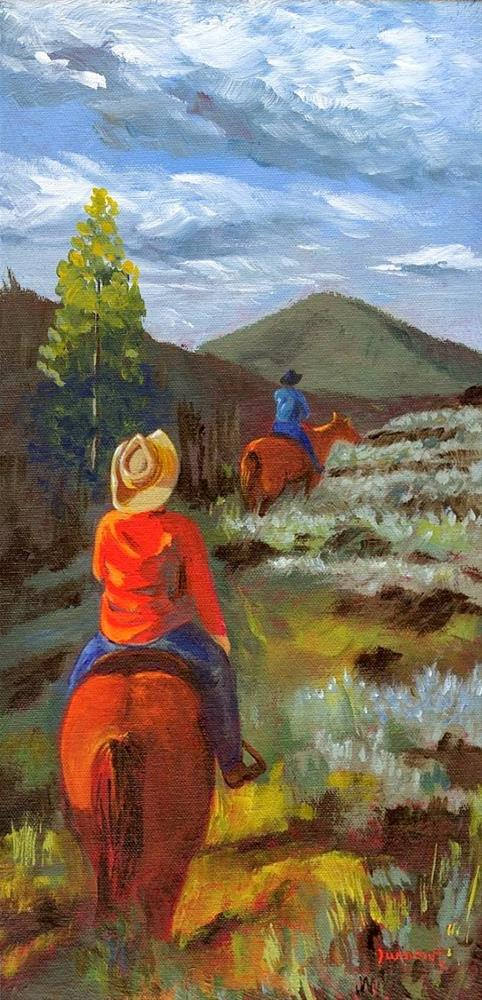 """""""ORIGINAL PAINTING LANDSCAPE TRAIL RIDE HORSES AND RIDERS"""" original fine art by Sue Furrow"""
