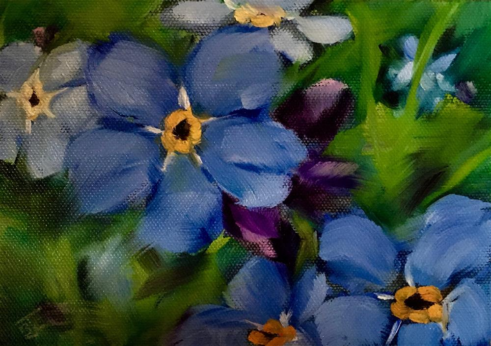 """Forget-me-nots"" original fine art by Bobbie Cook"