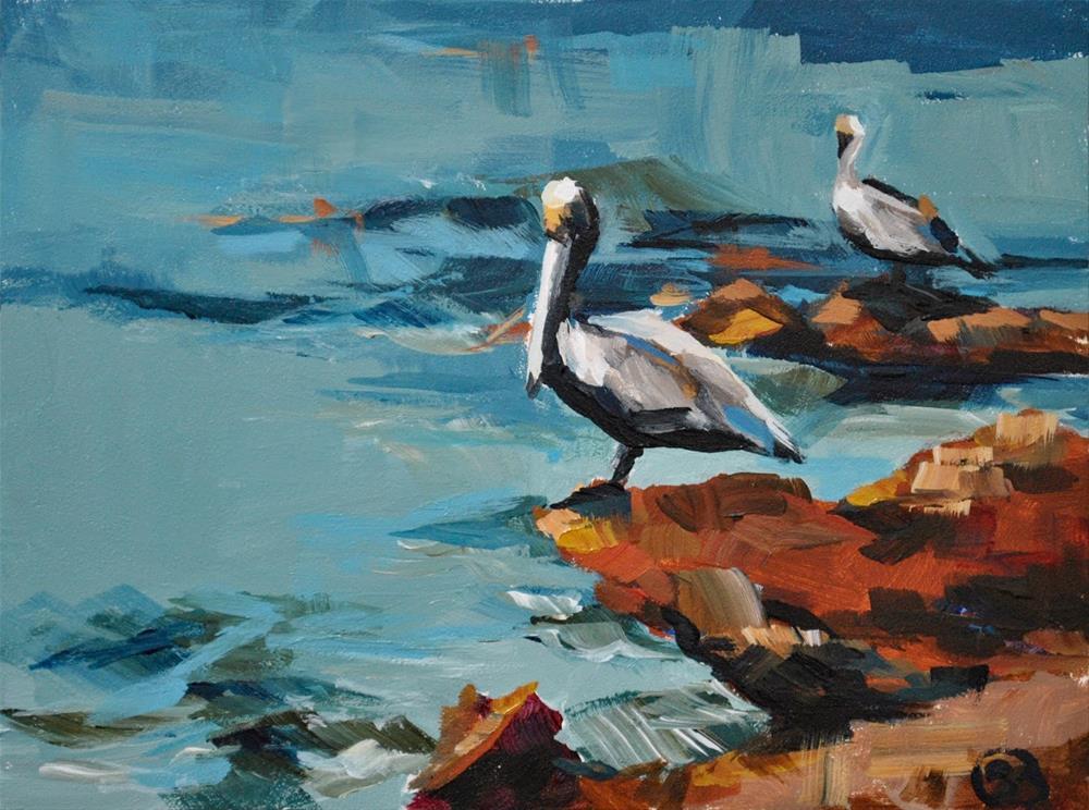 """Two Pelicans"" original fine art by Shari Buelt"