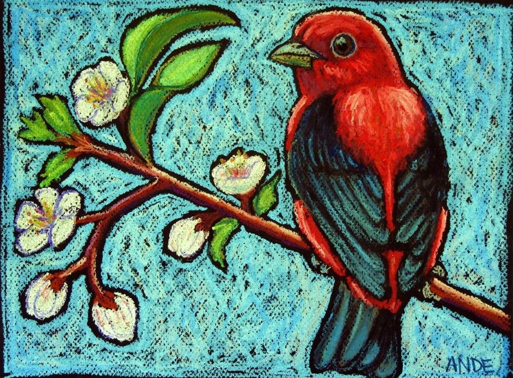 """""""Scarlet Tanager on Apricot Branch"""" original fine art by Ande Hall"""