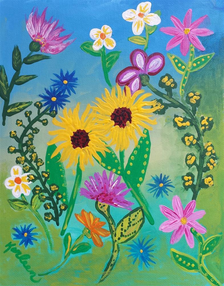 """Two Sunflowers"" original fine art by Karleen Kareem"