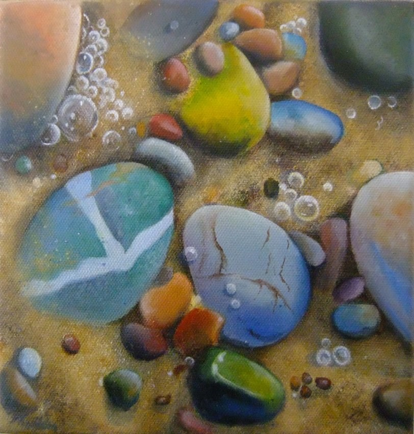 """""""Pebbles and sand"""" original fine art by Cathy Holtom"""