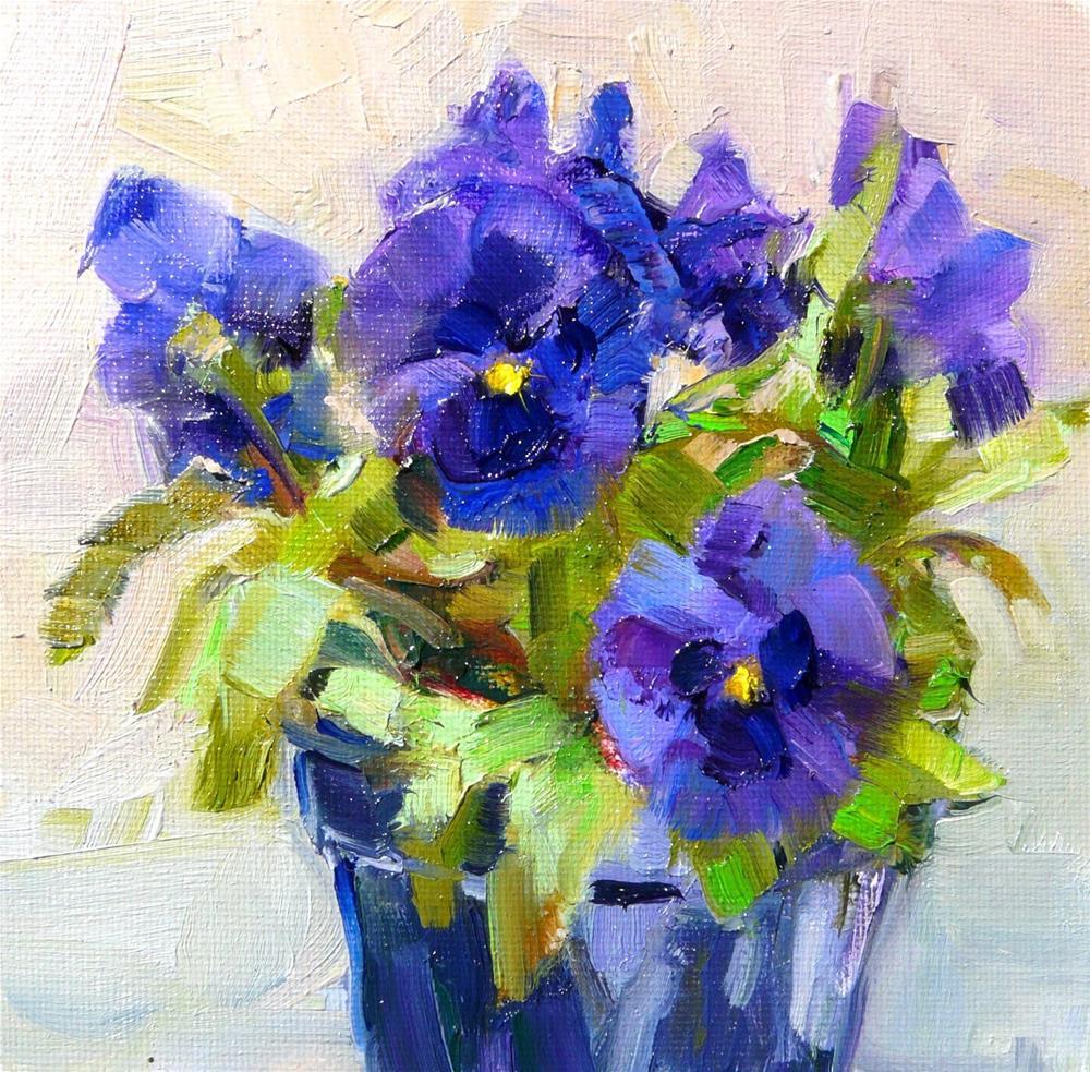 """""""A purple Pansy,still life,oil on canvas,6x6,price$200"""" original fine art by Joy Olney"""