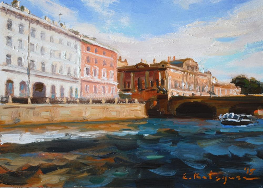 """""""A St. Petersburg Bridge"""" original fine art by Elena Katsyura"""