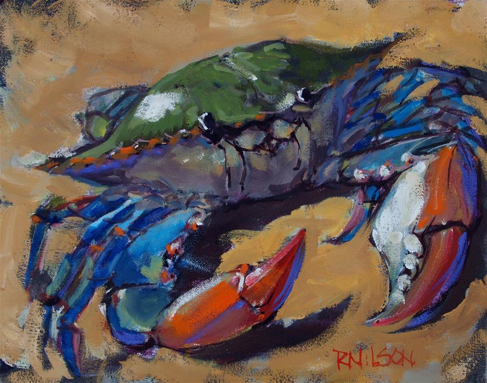 """Blue Crab with purple"" original fine art by Rick Nilson"