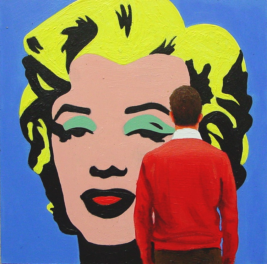 """Blue Marilyn- Painting Of Man Enjoying Painting Of Marilyn Monroe By Andy Warhol"" original fine art by Gerard Boersma"