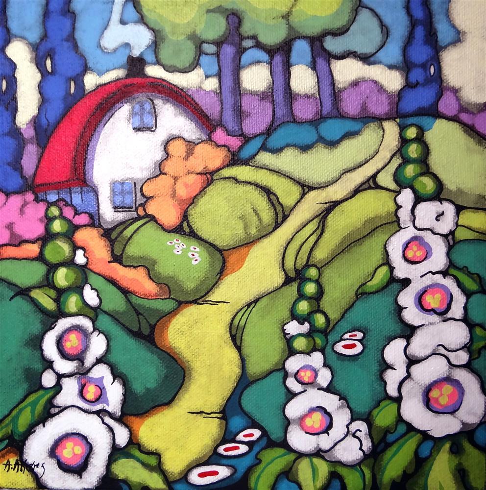 """Thank you Elke Sommer- A Folk Art Summer Farmhouse"" original fine art by Alida Akers"