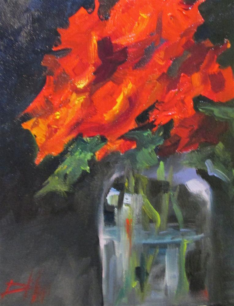 """Red Flowers in a Jar"" original fine art by Delilah Smith"