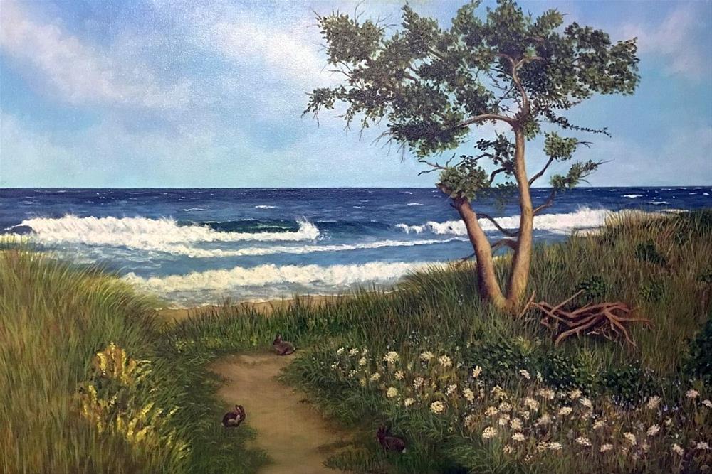 """Beach Bunnies"" original fine art by Elizabeth Elgin"