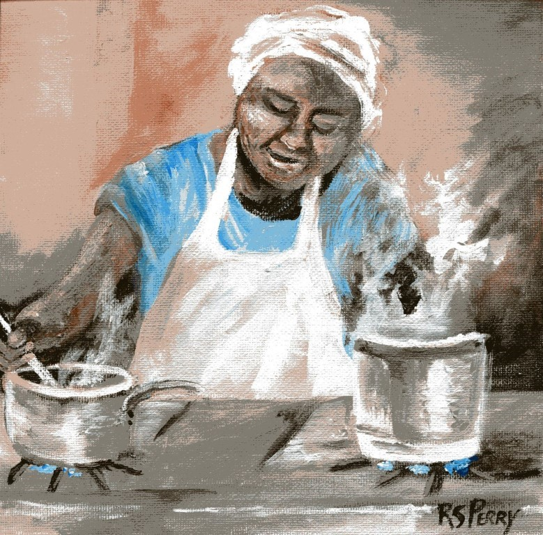 """Chicken and Dumplings for Supper! "" original fine art by R. S. Perry"