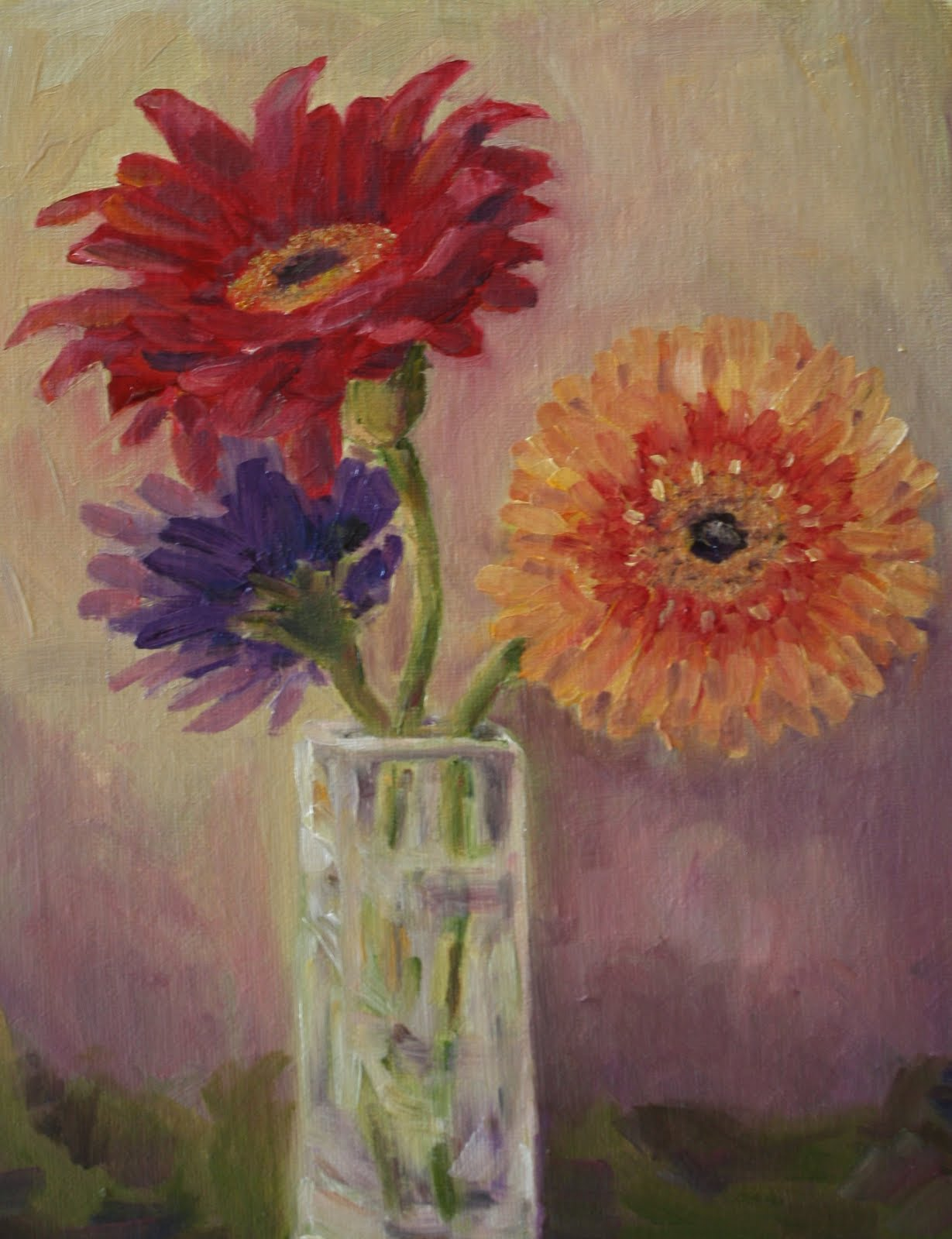"""""""Red Gerber Daisy and Friends"""" original fine art by Maggie Flatley"""