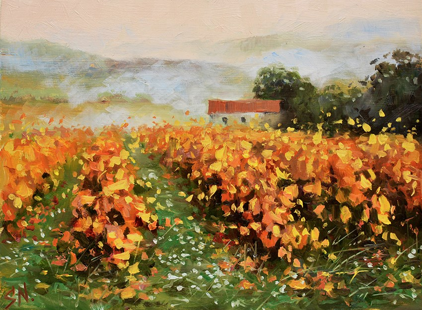 """ Misty vineyard ""- Countryside scene of Tuscany. Landscape oil painting."" original fine art by Nick Sarazan"