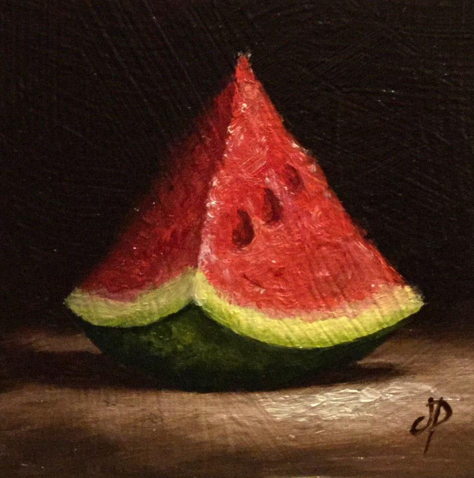 """Little watermelon wedge"" original fine art by Jane Palmer"