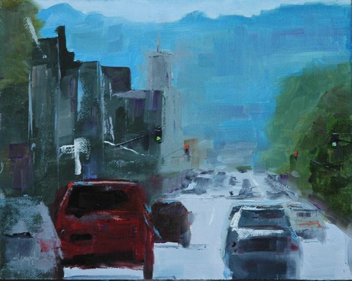 """CITYSCAPE"" original fine art by Linda Popple"