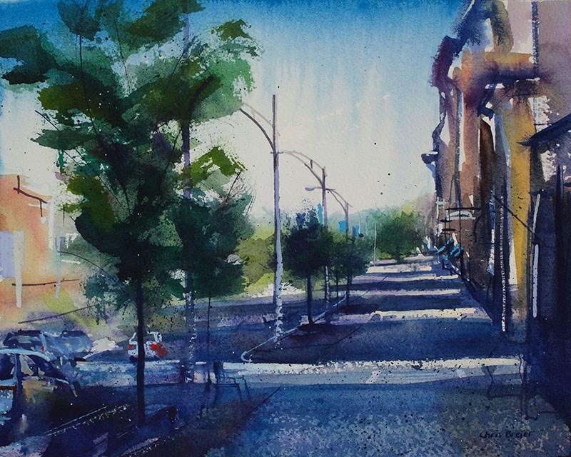 """Main Street Canandaigua"" original fine art by Chris Breier"