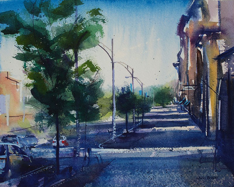 """Main Street Canandaigua"" original fine art by Chris Breier"