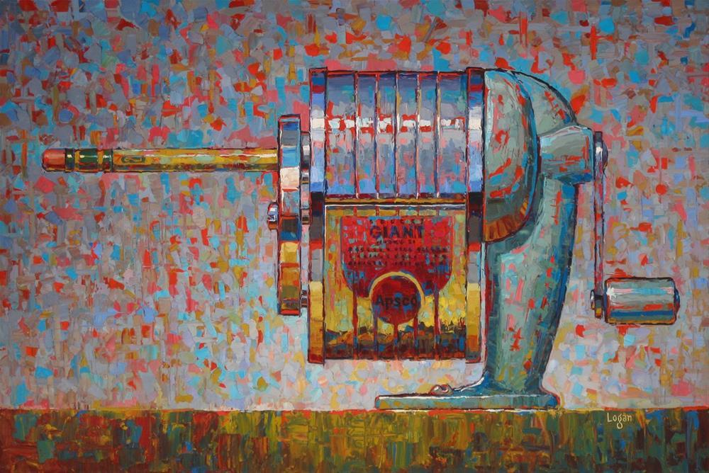 """Apsco Giant Pencil Sharpener and my Artcore Gallery Show"" original fine art by Raymond Logan"