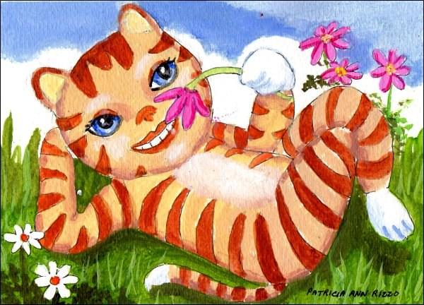 """The Flower Loving Cat"" original fine art by Patricia Ann Rizzo"