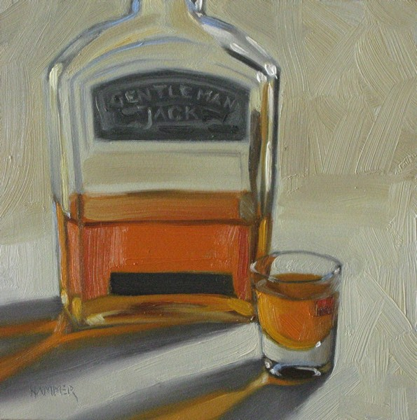 """Gentleman Jack 6x6 oil"" original fine art by Claudia Hammer"