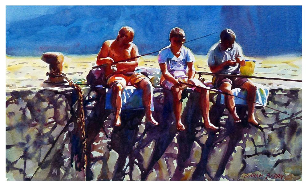 """Boys fishing."" original fine art by Graham Berry"