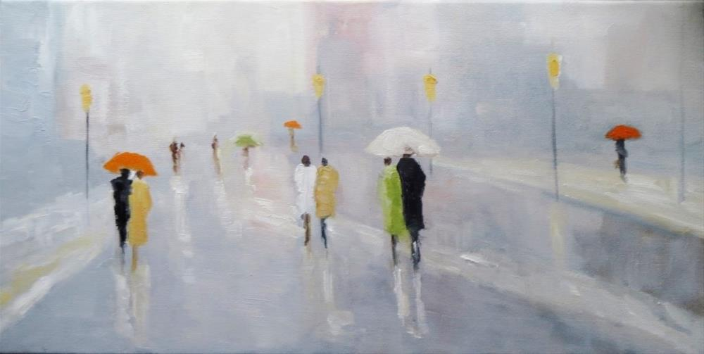 """Together under the umbrella"" original fine art by Astrid Buchhammer"
