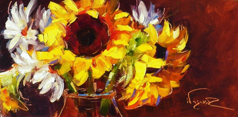 """""""SUNFLOWER PAINTING AND ARTIST RECEPTION"""" original fine art by Olga Wagner"""