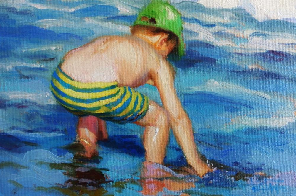 """Blue stripes"" original fine art by Víctor Tristante"