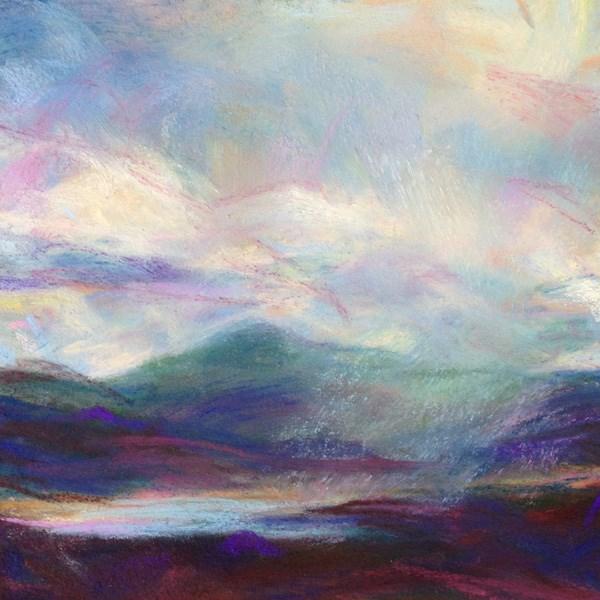 """GREEN MIST - 4 1/2 x 4 1/2 landscape pastel by Susan Roden"" original fine art by Susan Roden"