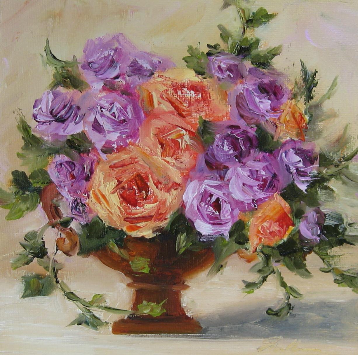 """Flower Study #33-Roses, limited palette"" original fine art by Pat Fiorello"