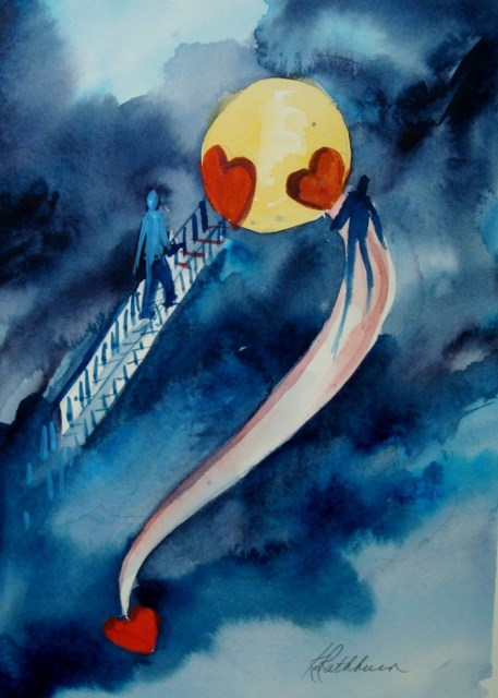 """""""Love You to the Moon and Back"""" original fine art by Kathy Los-Rathburn"""
