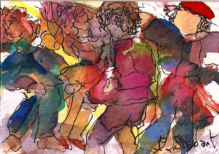 """""""ACEO The Crowded Street"""" original fine art by Penny Lee StewArt"""