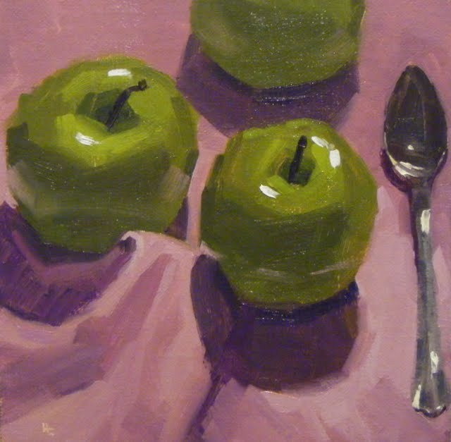 """APPLES ON LILAC"" original fine art by Helen Cooper"