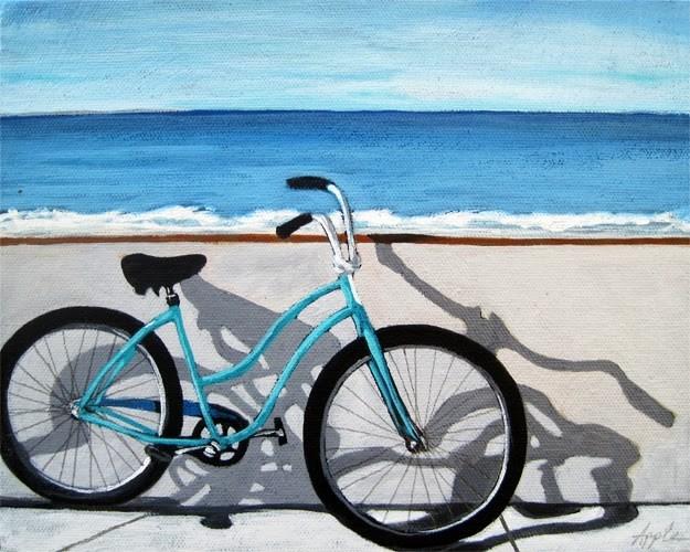 """""""Ocean view bicycle art by Linda Apple"""" original fine art by Linda Apple"""
