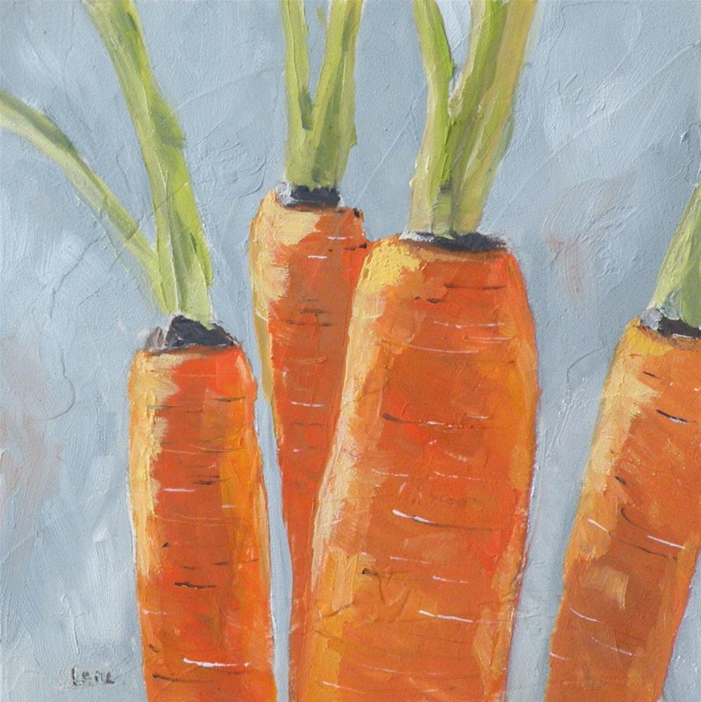 """THE FOUR TOPS A CARROT STORY; ORIGINAL 4X4 OIL ON PANEL FOR MY ETSY SHOP © SAUNDRA LANE GALL"" original fine art by Saundra Lane Galloway"