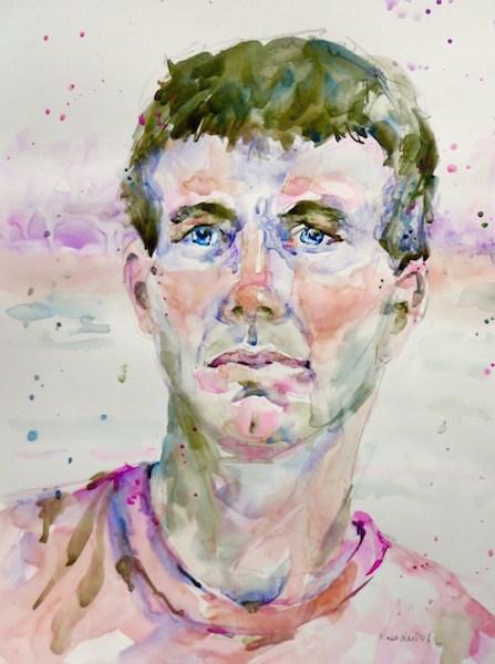 """walking man"" original fine art by Nora MacPhail"